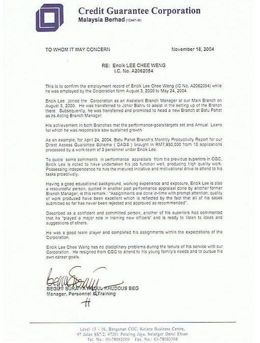 Testimonial From CGC  18.11.2004