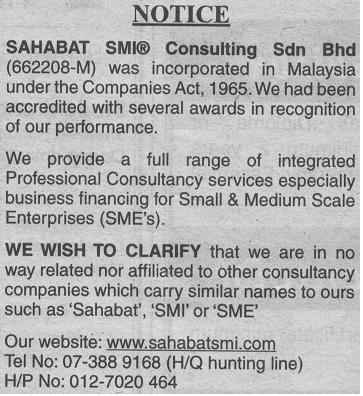 Press Notice of SAHABAT SMI Consulting Sdn Bhd on The Star (Star Notices)  06.09.2008